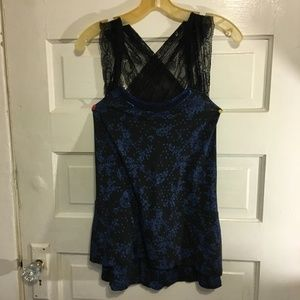 Free People Tops - Free People XS Unique Blue/Black Lace Top